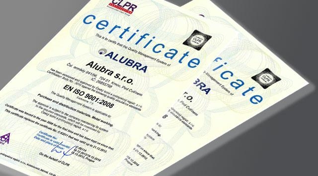 Certifikace Alubra